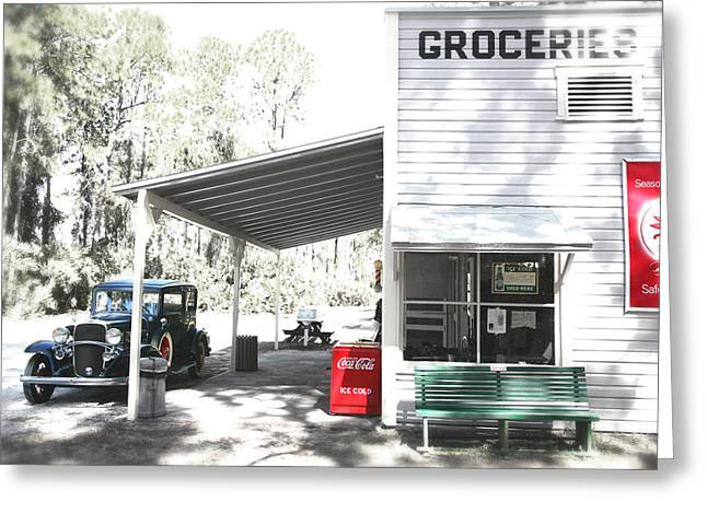 Recently Sold -  - Grocery Store Greeting Cards - Classic chevrolet automobile parked outside the store Greeting Card by Mal Bray