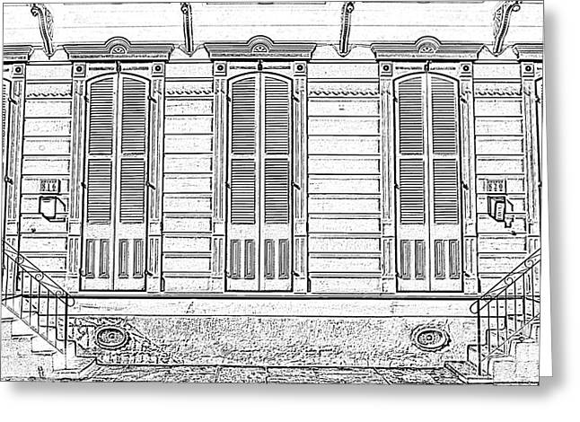 French Doors Greeting Cards - Classic French Quarter Residence New Orleans Black and White Photocopy Digital Art Greeting Card by Shawn O