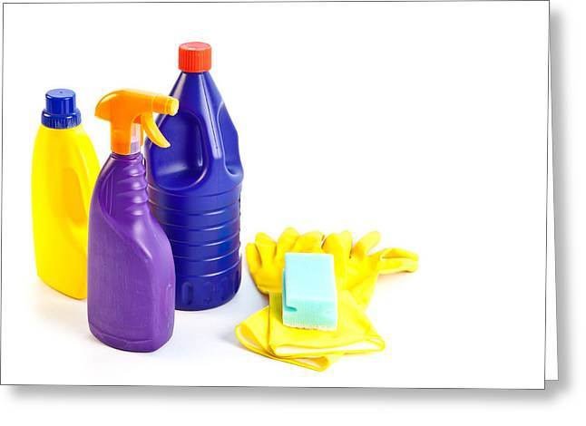 Plastic Bottle Greeting Cards - Cleaning Greeting Card by Tom Gowanlock