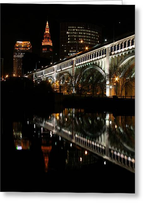 Cuyahoga River Greeting Cards - Cleveland Skyline Greeting Card by Brian M Lumley