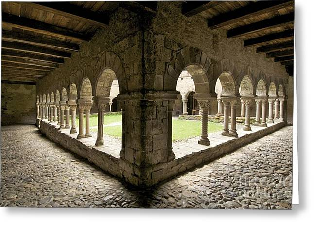 Cloister Greeting Cards - Cloister of Lavaudieu. Haute Loire. Auvergne Greeting Card by Bernard Jaubert