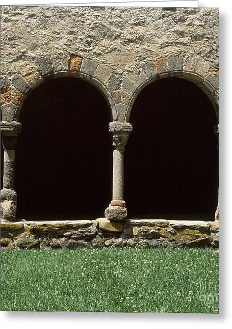 Cloister Greeting Cards - Cloister of Lavaudieu. Haute Loire. Auvergne. France. Greeting Card by Bernard Jaubert