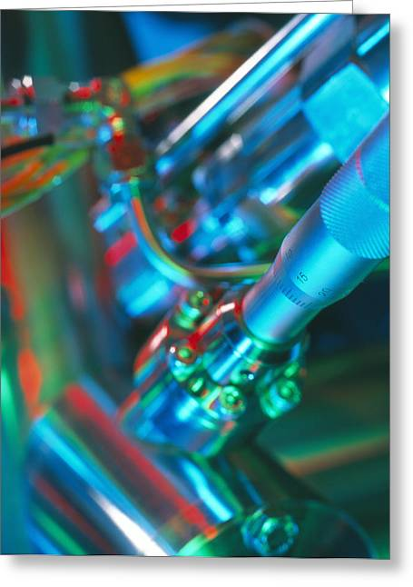 Spectrometer Greeting Cards - Close-up Of Part Of A Mass Spectrometer Greeting Card by Tek Image
