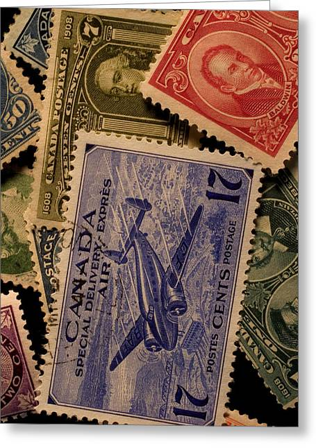 Special Delivery Greeting Cards - Closeup Of Classic Canadian Stamps Greeting Card by Phil Schermeister