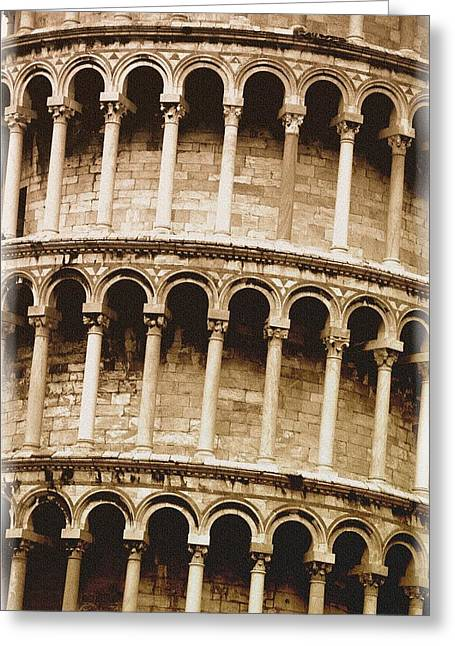 Closeup Of The Leaning Tower Of Pisa Greeting Card by Carson Ganci