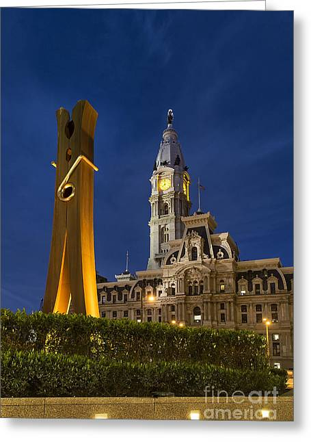 Oldenburg Greeting Cards - Clothespin and City Hall Greeting Card by John Greim