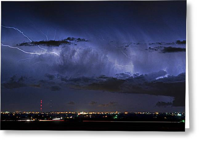 Images Lightning Greeting Cards - Cloud to Cloud Lightning Boulder County Colorado Greeting Card by James BO  Insogna