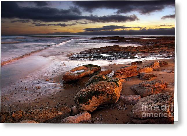 Storm Clouds; Sunset; Twilight; Water Greeting Cards - Coastline at twilight Greeting Card by Carlos Caetano