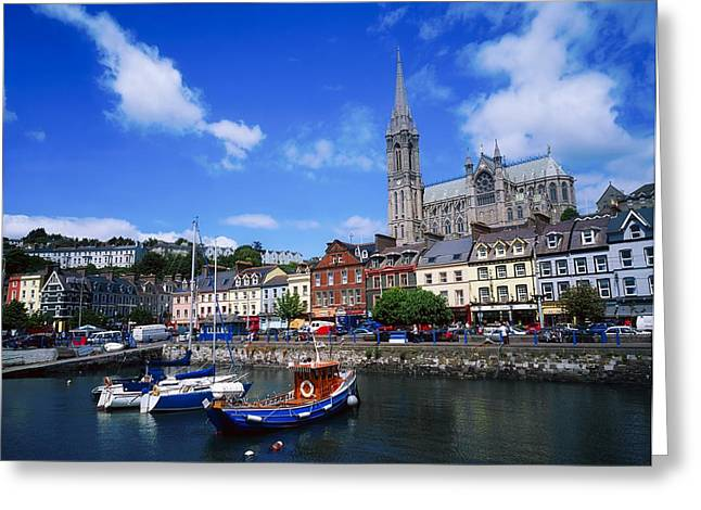 Neo-gothic-style Greeting Cards - Cobh Cathedral & Harbour, Co Cork Greeting Card by The Irish Image Collection