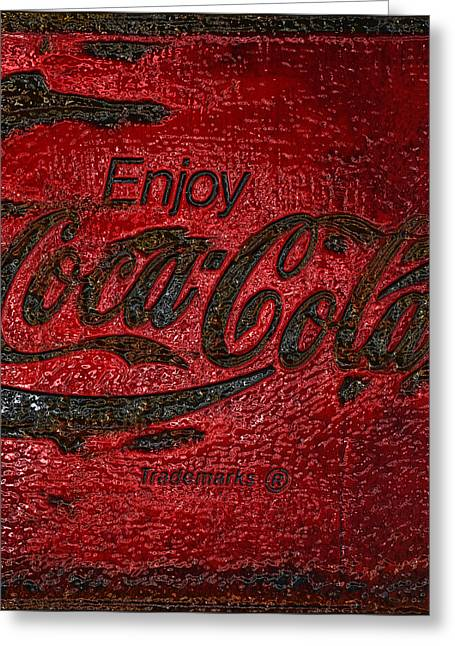 Closeup Coca Cola Sign Greeting Cards - Coca Cola Classic Vintage Rusty Sign Greeting Card by John Stephens