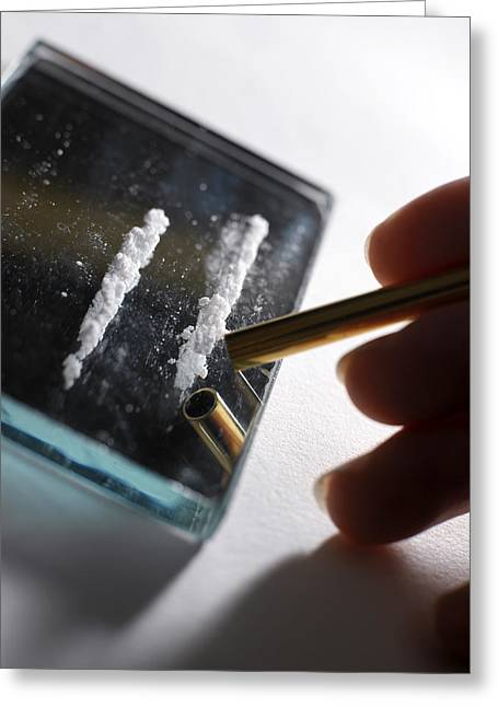 Cocaine Greeting Cards - Cocaine Use Greeting Card by Tek Image