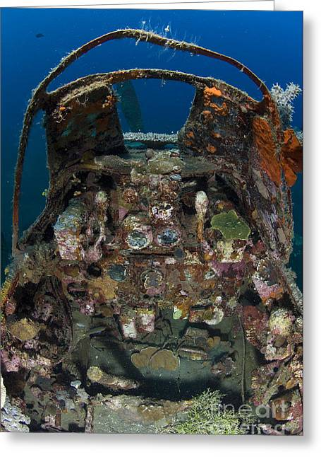 New Britain Photographs Greeting Cards - Cockpit Of A Mitsubishi Zero Fighter Greeting Card by Steve Jones