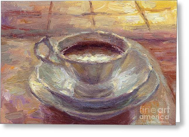 Coffee Prints Greeting Cards - Coffee Cup Still life painting Greeting Card by Svetlana Novikova