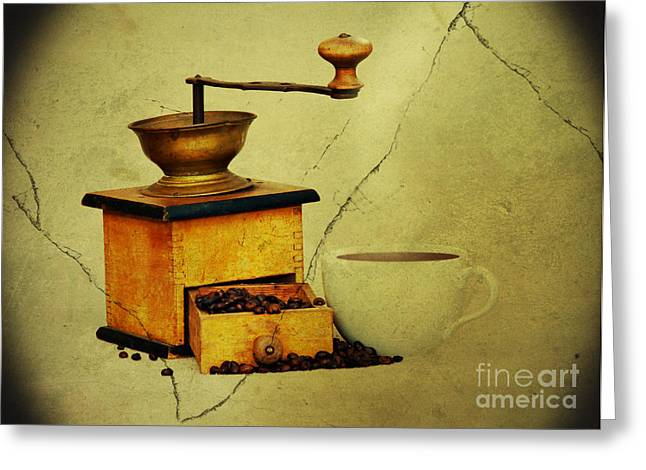 Paper Images Greeting Cards - Coffee Mill And Beans In Grunge Style Greeting Card by Michal Boubin