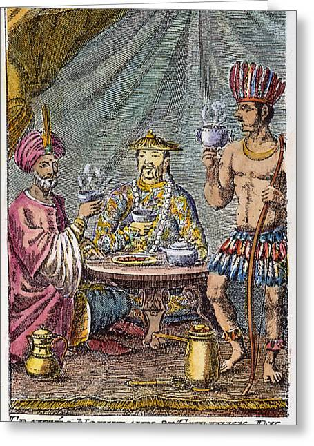 Coffee Drinking Greeting Cards - Coffee, Tea & Chocolate, 1685 Greeting Card by Granger