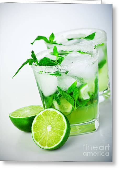 Sour Greeting Cards - Cold mojito drink Greeting Card by Anna Omelchenko