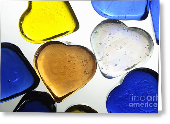 Paperweight Greeting Cards - Collection of colorful glass heart shapes Greeting Card by Sami Sarkis