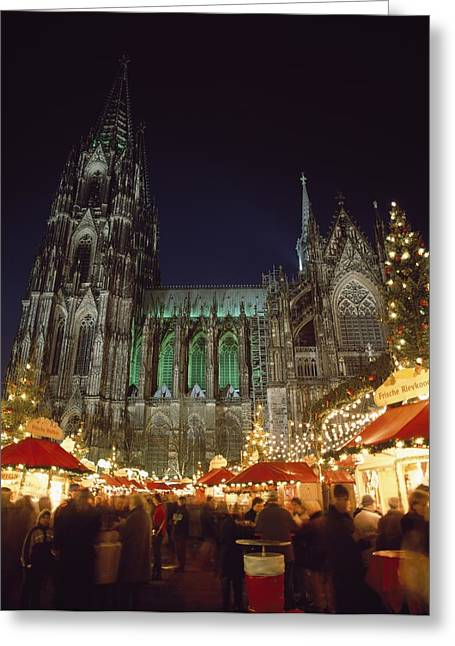 Town Square Greeting Cards - Cologne Cathedral And Christmas Market Greeting Card by Axiom Photographic