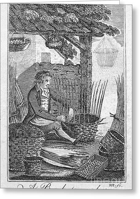 Colonial Man Greeting Cards - Colonial Basketmaker Greeting Card by Granger