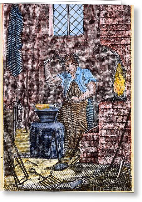 Colonial Man Greeting Cards - COLONIAL BLACKSMITH, 18th C Greeting Card by Granger