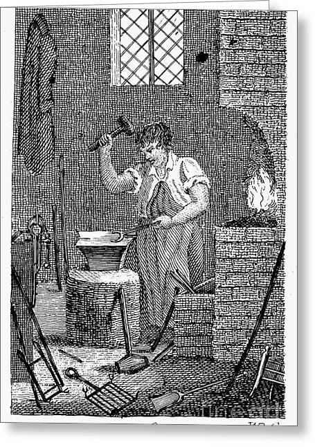 Colonial Man Greeting Cards - Colonial Blacksmith Greeting Card by Granger