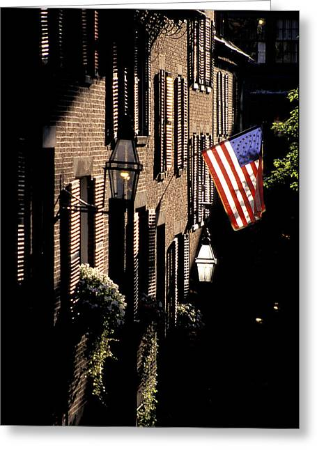 Colonial Flag Greeting Cards - Colonial Era Town Houses And American Greeting Card by Richard Nowitz