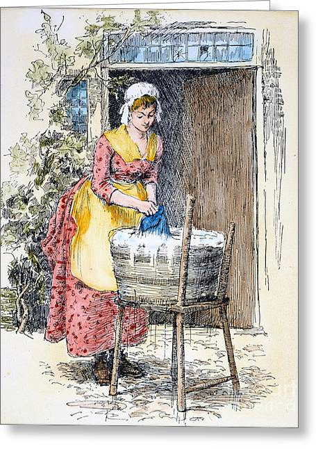 Apron Greeting Cards - Colonial Laundress Greeting Card by Granger