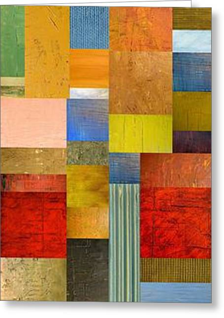 Layers Greeting Cards - Color Panels with Green Grass Greeting Card by Michelle Calkins