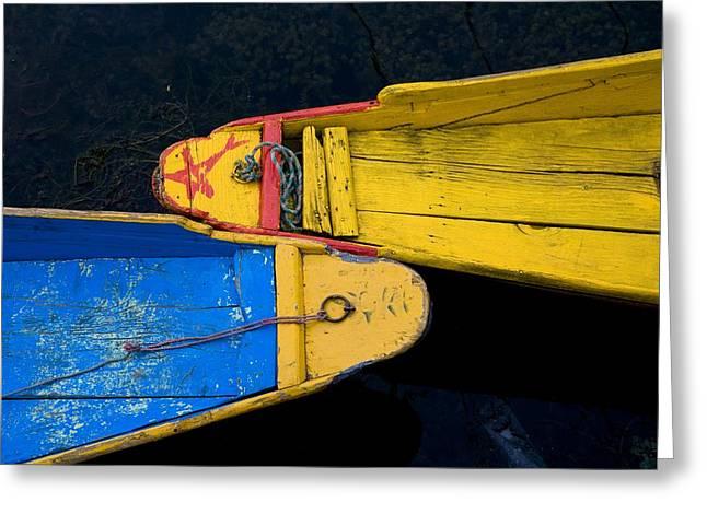 Dal Lake Greeting Cards - Colorful Boats, Srinagar, Dal Lake Greeting Card by David DuChemin