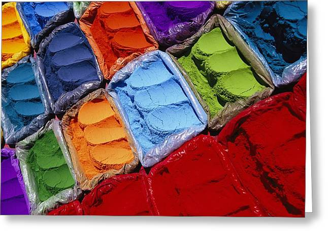 Dyeing Greeting Cards - Colorful Dyes For Sale On The Streets Greeting Card by Michael Melford