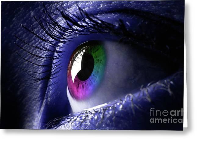 Eyelash Greeting Cards - Colorful Eye Greeting Card by Oleksiy Maksymenko