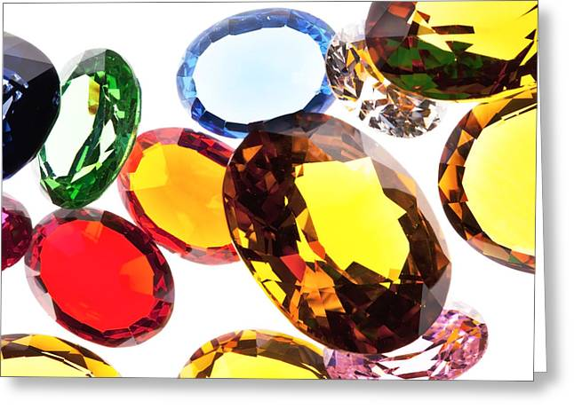 Topaz Greeting Cards - Colorful Gems Greeting Card by Setsiri Silapasuwanchai