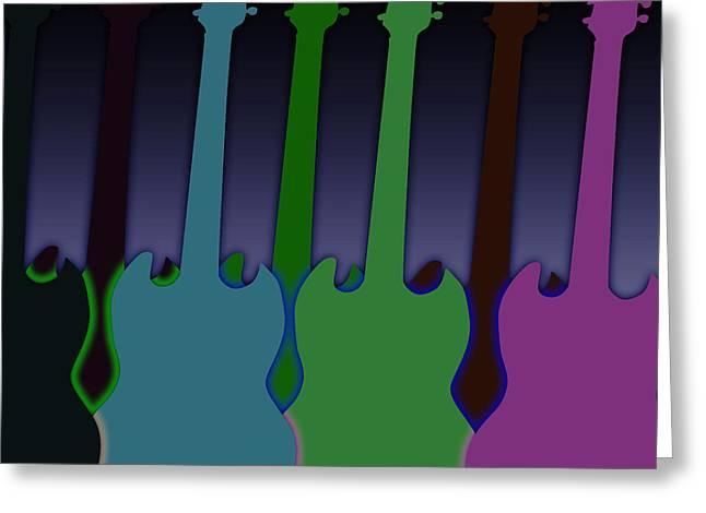 Intruments Greeting Cards - Colorful Guitars Greeting Card by Lj Lambert