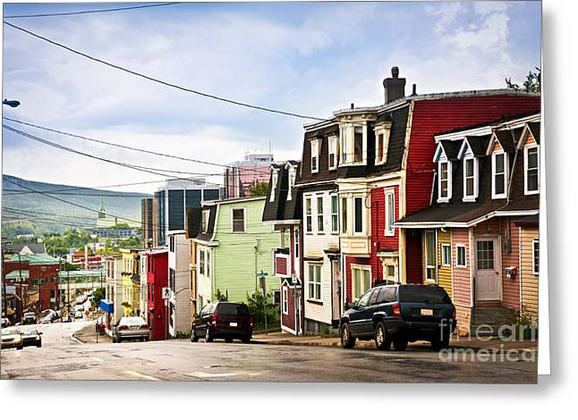 St John Greeting Cards - Colorful houses in Newfoundland Greeting Card by Elena Elisseeva