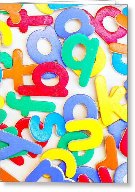 Diversity Photographs Greeting Cards - Colorful letters Greeting Card by Tom Gowanlock