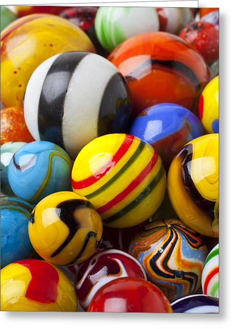 Play Photographs Greeting Cards - Colorful marbles Greeting Card by Garry Gay
