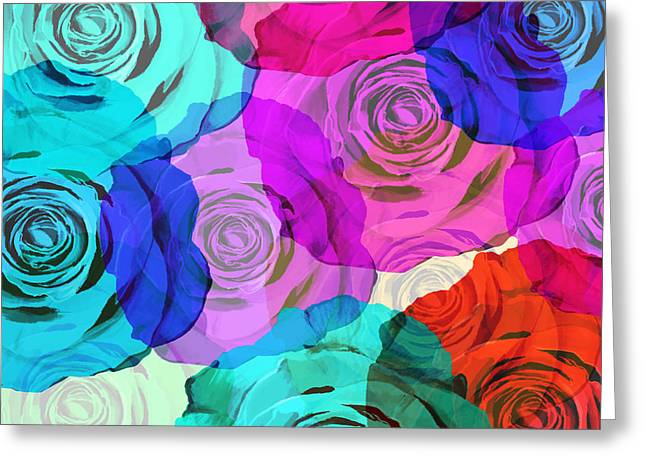Abstract Rose Abstract Greeting Cards - Colorful Roses Design Greeting Card by Setsiri Silapasuwanchai