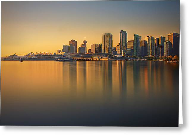 Burrard Inlet Greeting Cards - Colorful Sunrise Greeting Card by Jorge Ligason