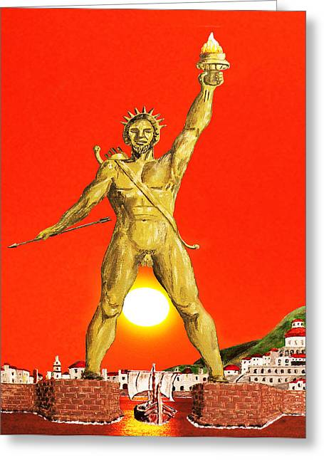 Ellenisworkshop Greeting Cards - Colossus Of Rhodes Greeting Card by Eric Kempson