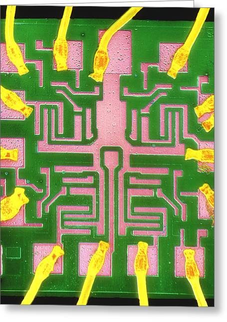 Transistor Greeting Cards - Coloured Sem Of A 7401 Ttl Integrated Circuit Greeting Card by Dr Jeremy Burgess