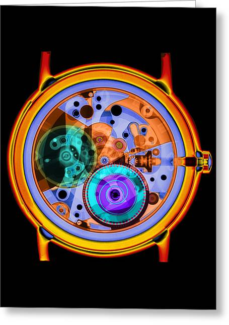 Wrist Watch Greeting Cards - Coloured X-ray Of A 17-jewel Wrist-watch Greeting Card by D. Roberts