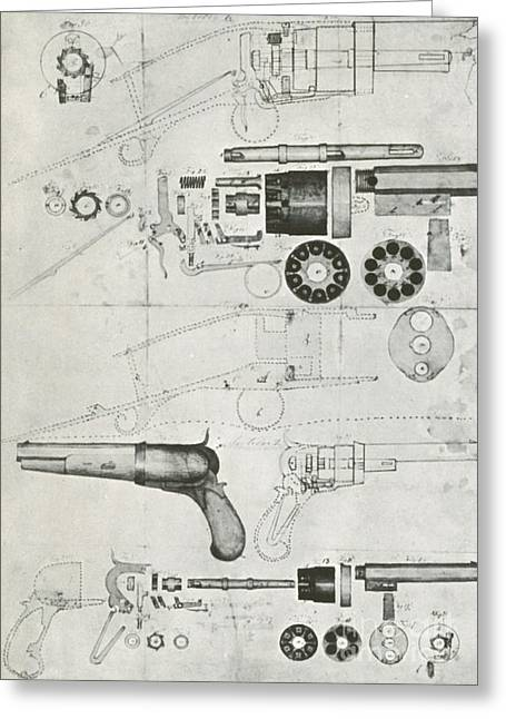 Samuel Greeting Cards - Colt Pistol, Us Patent Diagram Greeting Card by Science Source