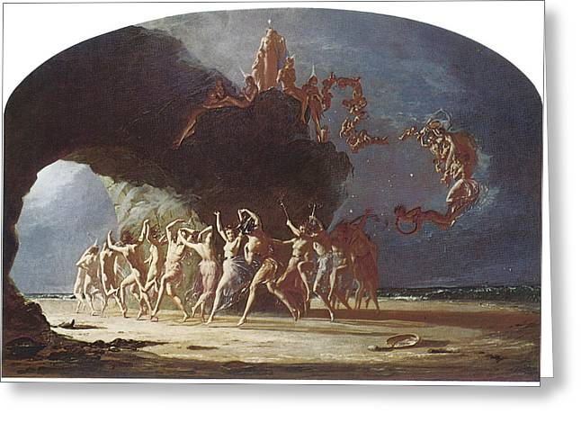 Dancing On The Beach Greeting Cards - Come Unto These Yellow Sands Greeting Card by Richard Dadd