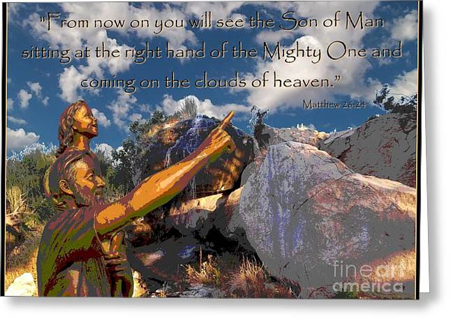 Gospel Of Matthew Greeting Cards - Coming In The Clouds Greeting Card by Glenn McCarthy Art and Photography