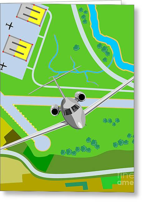 Commercial Digital Art Greeting Cards - Commercial Jet Plane Greeting Card by Aloysius Patrimonio