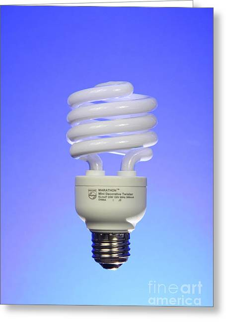 Fluorescent Lights Greeting Cards - Compact Fluorescent Light Bulb Greeting Card by Photo Researchers, Inc.