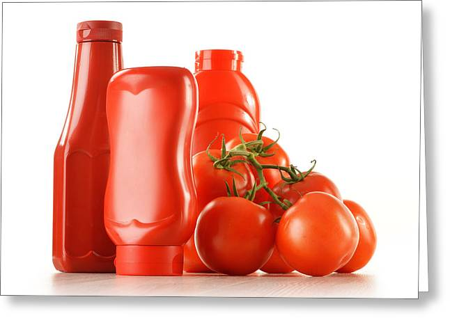 Composition With Ketchup And Fresh Tomatoes Isolated On White Greeting Card by T Monticello