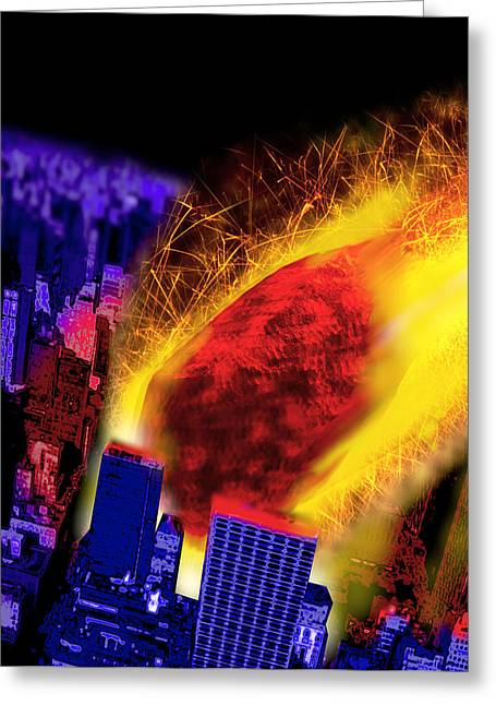 Meteorite Greeting Cards - Computer Artwork Of A Meteorite Striking A City Greeting Card by Victor Habbick Visions