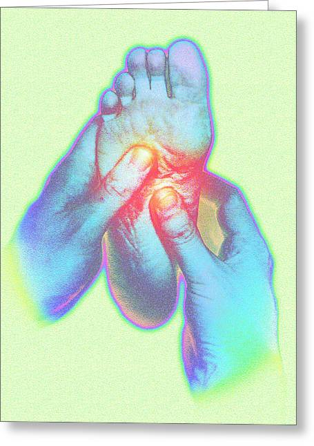 Art Therapy Greeting Cards - Computer Artwork Of Reflexologist Massaging A Foot Greeting Card by David Gifford