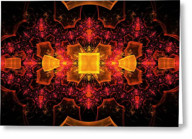 Red Wallpaper Greeting Cards - Computer Generated 3D Abstract Fractal Flame Modern Art Greeting Card by Keith Webber Jr